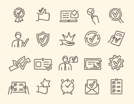 Vector set of linear icons related to approvement