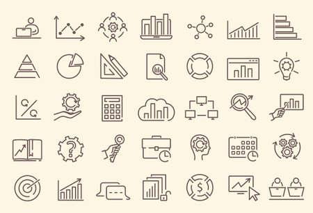 Set of data analysis, statistics, analytics icons