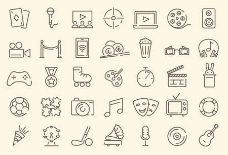 Set of vector outline recreatinal and entertainment icons Stock Illustratie