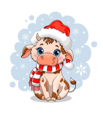 Cute little cartoon cow in winter snow