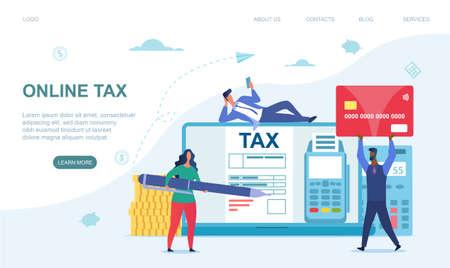 Tiny multiracial men and woman paying taxes Иллюстрация
