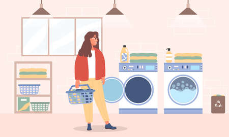 Young woman washes clothes in the Laundry room Stock Illustratie