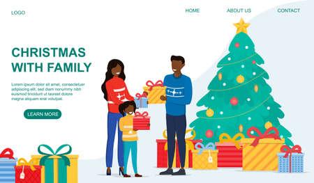Happy family near the Christmas tree Ilustração