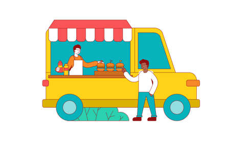 Man buying a burger in a Food truck