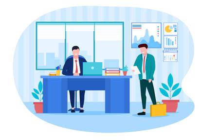 The subordinate came to the boss with a report Ilustração
