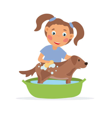 Happy little girl washing her dog.