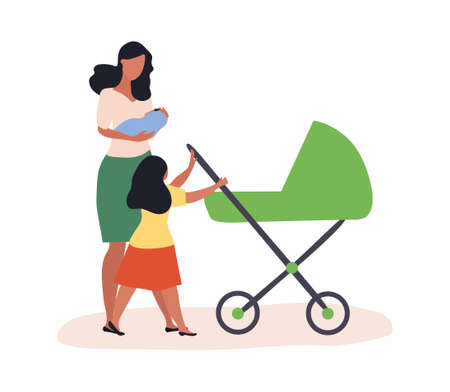 A woman walking with a child in her arms
