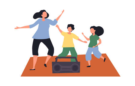 Mom and kids boy and girl dancing together Illustration