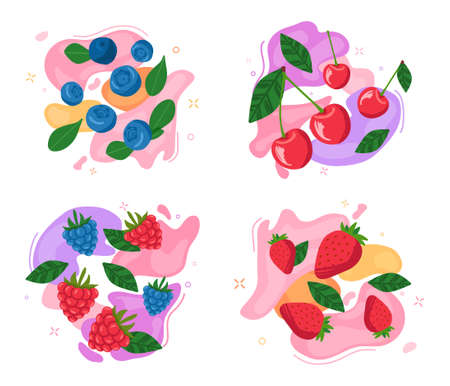Set of berries on abstract background