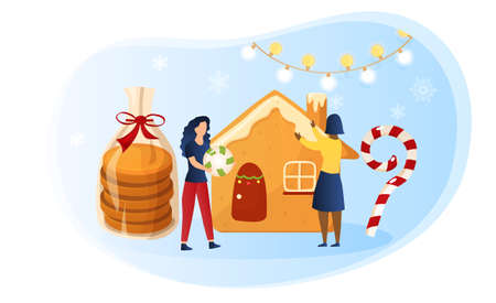 Preparing for the celebration of Christmas Illustration