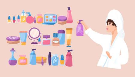 Skin care and cosmetics concept Vektorgrafik