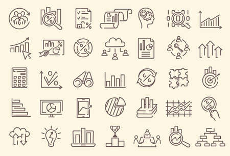 A set of outline business analytics icons