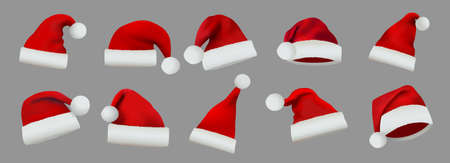 Collection of Red Santa Claus Hats isolated