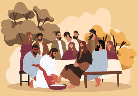 Jesus washes the feet of the apostles