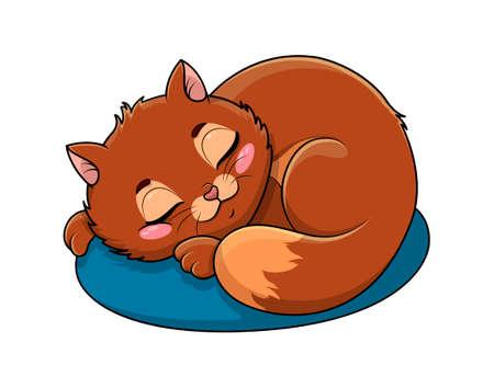 Adorable little cartoon cat asleep on a cushion