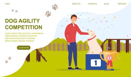 Dog training and development concept 矢量图像