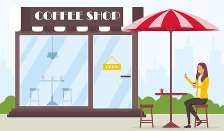 Drinking coffee near coffee shop