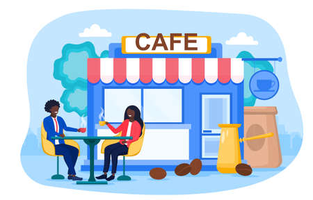 Abstract concept of cafeteria or coffee shop 矢量图像