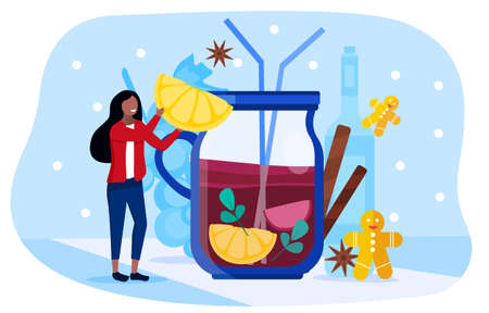 Young beautiful happy girl drinking mulled wine 矢量图像