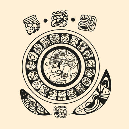 Ancient mayan tattoo picture