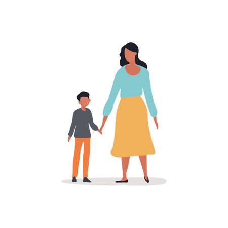 Mother walking with child vector illustration