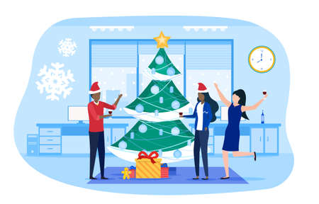 Business people at New Year corporate party Vector Illustration