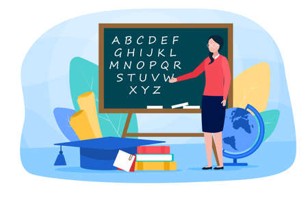 Philologist web banner or landing page 向量圖像