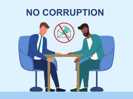 Business bribery and kickback corruption concept