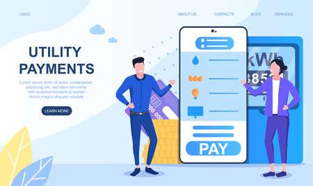 Concept of online payment utilities 向量圖像