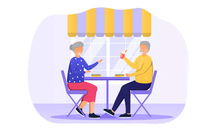 Elderly couple are sitting in cafe Иллюстрация