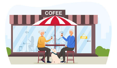 Elderly Man and Woman drinking coffee