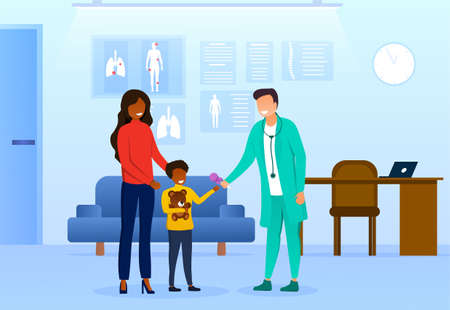 Doctor and Visitors in Modern Pediatrician Office