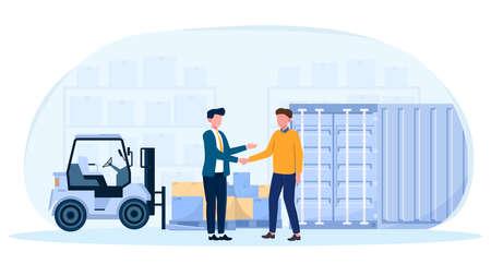 Businessmen shaking hands making cargo insurance deal