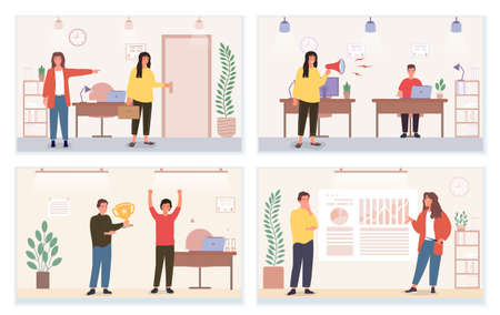 Set of rude and pleasant attitude in business team illustrations
