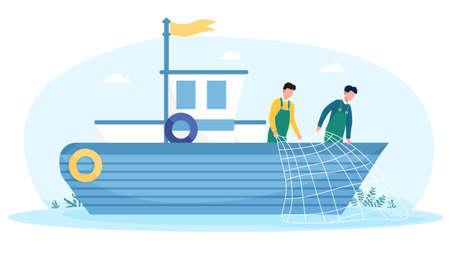 Fishermen working on boat with net Illusztráció