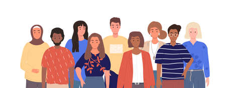 Group of multiracial people team Illusztráció