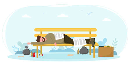 Homeless bum sleeping on bench