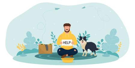 Bum sitting on ground with dog on Street begging money Illusztráció