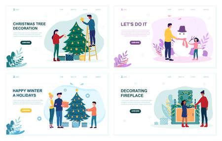 Illustration sets of people preparing for winter holidays.