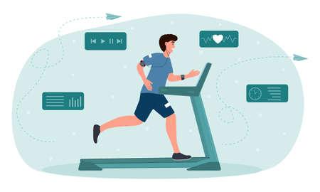Male character running on motorized treadmill