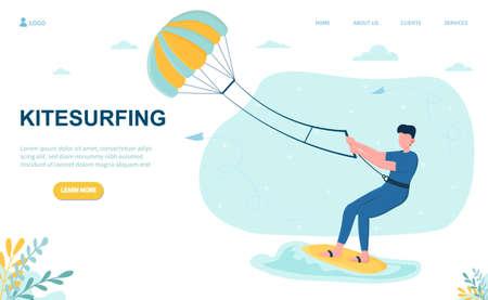 Male character kitesurfing