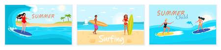 Set of scenes from surf school Illusztráció