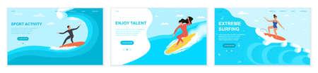Web set of man and woman surfeing Illusztráció