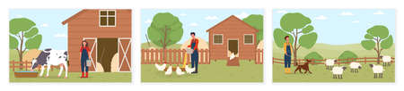 Set of various scenes with farmers taking care domestic animals Illusztráció