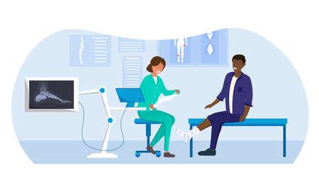 Female doctor in uniform examines black patient with broken leg
