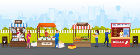 Local market place with fresh food