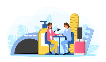 Manicurist and female customer sitting in salon Illusztráció