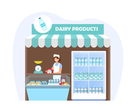Stall with dairy products