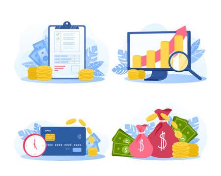 Set of money saving illustrations Illusztráció