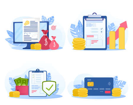 Set of business strategy illustrations